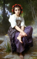 At the Edge of the Brook (Au Bord du Ruisseau) painting reproduction, William Adolphe Bouguereau