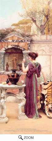 Painting Reproduction of At the Garden Shrine Pompeii, John William Godward