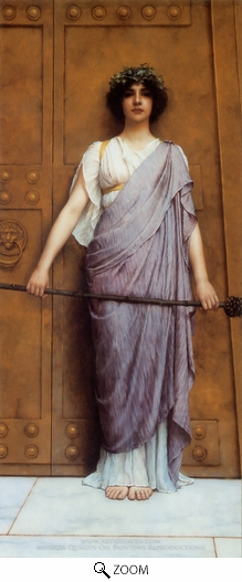 Painting Reproduction of At the Gate of the Temple, John William Godward