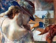 At the Mirror painting reproduction, Edgar Degas