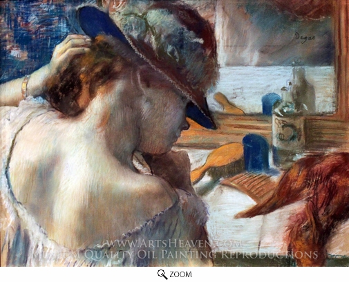 Edgar Degas, At the Mirror oil painting reproduction