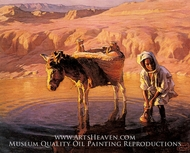 At the Watering Hole painting reproduction, Adam Styka