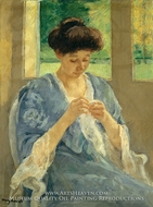 Augusta Sewing Before a Window painting reproduction, Mary Cassatt