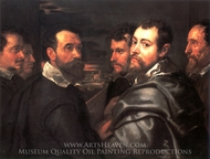 Autoportrait avec ses Amis a Mantoue painting reproduction, Peter Paul Rubens