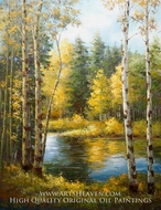 Autumn Forest and Calm Stream painting reproduction, Various Artist