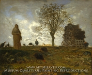Autumn Landscape with a Flock of Turkeys painting reproduction, Jean-Francois Millet