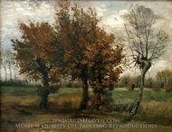 Autumn Landscape with Four Trees painting reproduction, Vincent Van Gogh