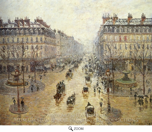 Painting Reproduction of Avenue de l'Opera: Snow Effect, Camille Pissarro
