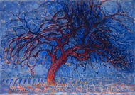 Avond Evening, Red Tree painting reproduction, Piet Mondrian