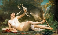 Bacchante lutinant une chevre painting reproduction, William Adolphe Bouguereau