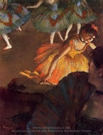 Ballerina and Lady with a Fan painting reproduction, Edgar Degas