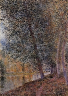 Banks of the Loing, Autumn painting reproduction, Alfred Sisley