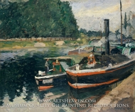 Barges at Pontoise painting reproduction, Camille Pissarro