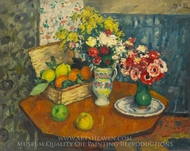Basket of Fruit and Two Vases of Flowers painting reproduction, Georges D'Espagnat
