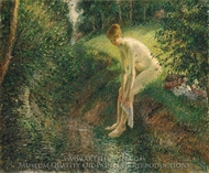 Bather in the Woods painting reproduction, Camille Pissarro