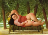Bather on the Beach painting reproduction, Fernando Botero