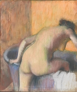 Bather Stepping into a Tub painting reproduction, Edgar Degas