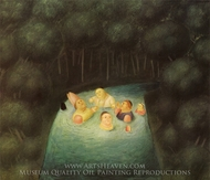 Bathing Bishops in a River painting reproduction, Fernando Botero