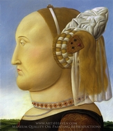 Battista Sforza (after Piero della Francesca) painting reproduction, Fernando Botero
