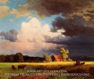 Bavarian Landscape (Red Barn) by Albert Bierstadt