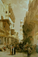 Bazaar in the Street Leading to the Mosque El Mooristan painting reproduction, David Roberts