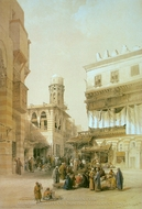 Bazaar of the Coppersmiths painting reproduction, David Roberts