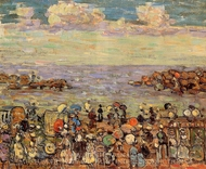 Beach at St. Malo painting reproduction, Maurice Prendergast