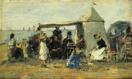 Beach at Trouville painting reproduction, Eugene-Louis Boudin