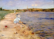 Beach Scene, Morning at Canoe Place painting reproduction, William Merritt Chase