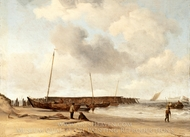 Beach with a Weyschuit Pulled up on Shore painting reproduction, Willem Van De Velde, The Younger