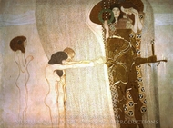 Beethovenfries - Longing for happiness painting reproduction, Gustav Klimt