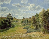 Berneval Meadows, Morning painting reproduction, Camille Pissarro