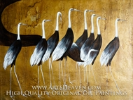 Black Wing Cranes painting reproduction, Various Artist