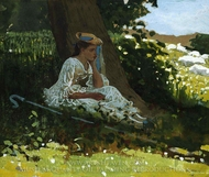 Bo-Peep (Girl with Shepherd's Crook Seated by a Tree) painting reproduction, Winslow Homer