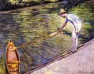 Boater Pulling in His Perissoire painting reproduction, Gustave Caillebotte