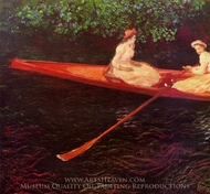 Boating on the River Epte painting reproduction, Claude Monet