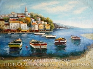 Boats and Villas painting reproduction, Various Artist