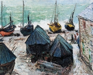 Boats on the Beach at Etretat painting reproduction, Claude Monet