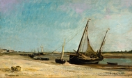 Boats on the Seacoast at Etaples painting reproduction, Charles Daubigny