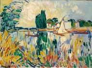 Boats on the Seine at Chatou painting reproduction, Maurice De Vlaminck