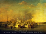 Bombardment on the Morro Castle, 1 July 1762 painting reproduction, Richard Paton