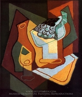 Bottle, Wine Glass and Fruit Bowl painting reproduction, Juan Gris