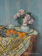 Bouquet of Roses and Fruit painting reproduction, Albert Andre