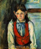 Boy in a Red Vest painting reproduction, Paul Cezanne