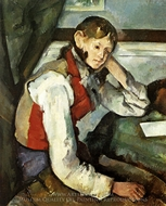 Boy in Red Vest painting reproduction, Paul Cezanne