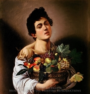 Boy with a Basket of Fruit painting reproduction, Caravaggio