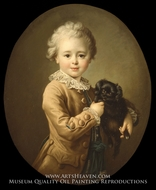 Boy with a Black Spaniel painting reproduction, Francois-Hubert Drouais