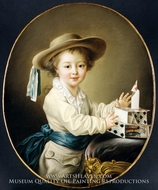 Boy with a House of Cards painting reproduction, Francois-Hubert Drouais