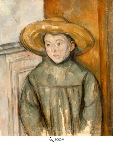 Painting Reproduction of Boy With a Straw Hat, Paul Cezanne