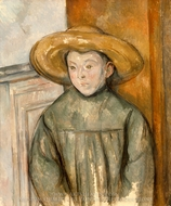 Boy With a Straw Hat painting reproduction, Paul Cezanne